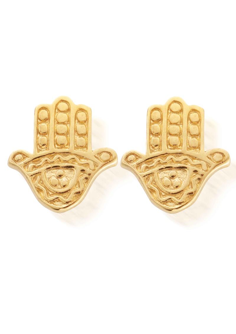 ChloBo Let's Dance Tiny Decorated Hamsa Earrings - Gold main image