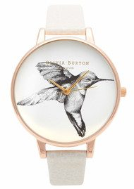 Olivia Burton Hummingbird Motif Watch - Mink & Rose Gold