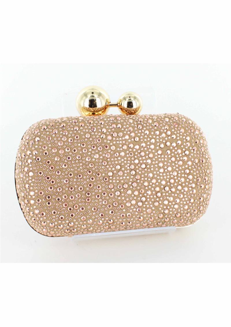 Lola Cruz Suede Diamante Clutch Bag - Rose Gold main image