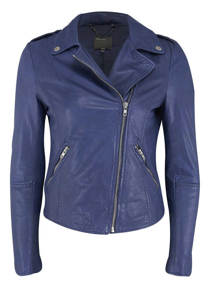 Muubaa Carmona Biker Leather Jacket - Colbalt Mazzarine main image