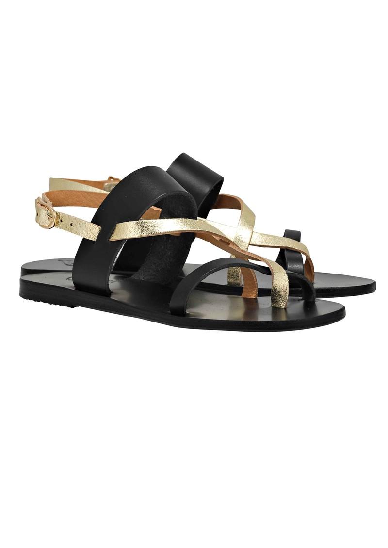Ancient Greek Sandals Althea Flat Sandals - Black & Gold main image