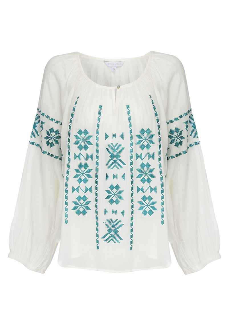 Long Sleeve Cotton Ula Top - Turquoise main image