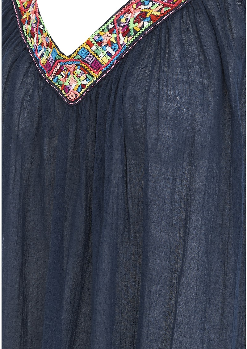 Star Mela Ina Cotton Embroidered Sun Dress - Navy main image