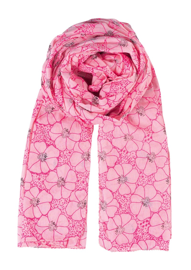 K Dots & Flowers Scarf - Neon Pink main image
