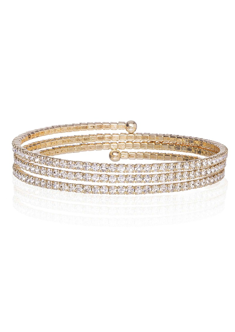 Slinky Wrap Around Pave Bracelet - Gold main image