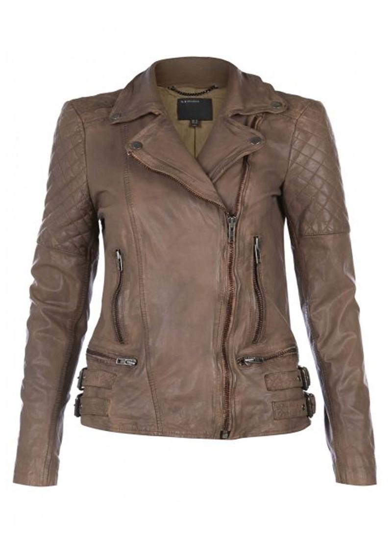 Muubaa Rokel Biker Leather Jacket - Beige main image