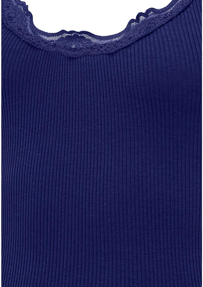 Rosemunde Wide Lace Silk Blend Tank - True Blue main image