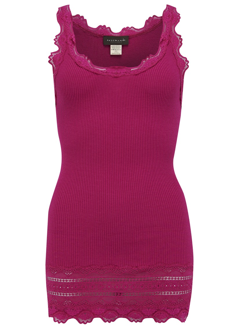 Wide Lace Silk Blend Tank - Light Cherry main image