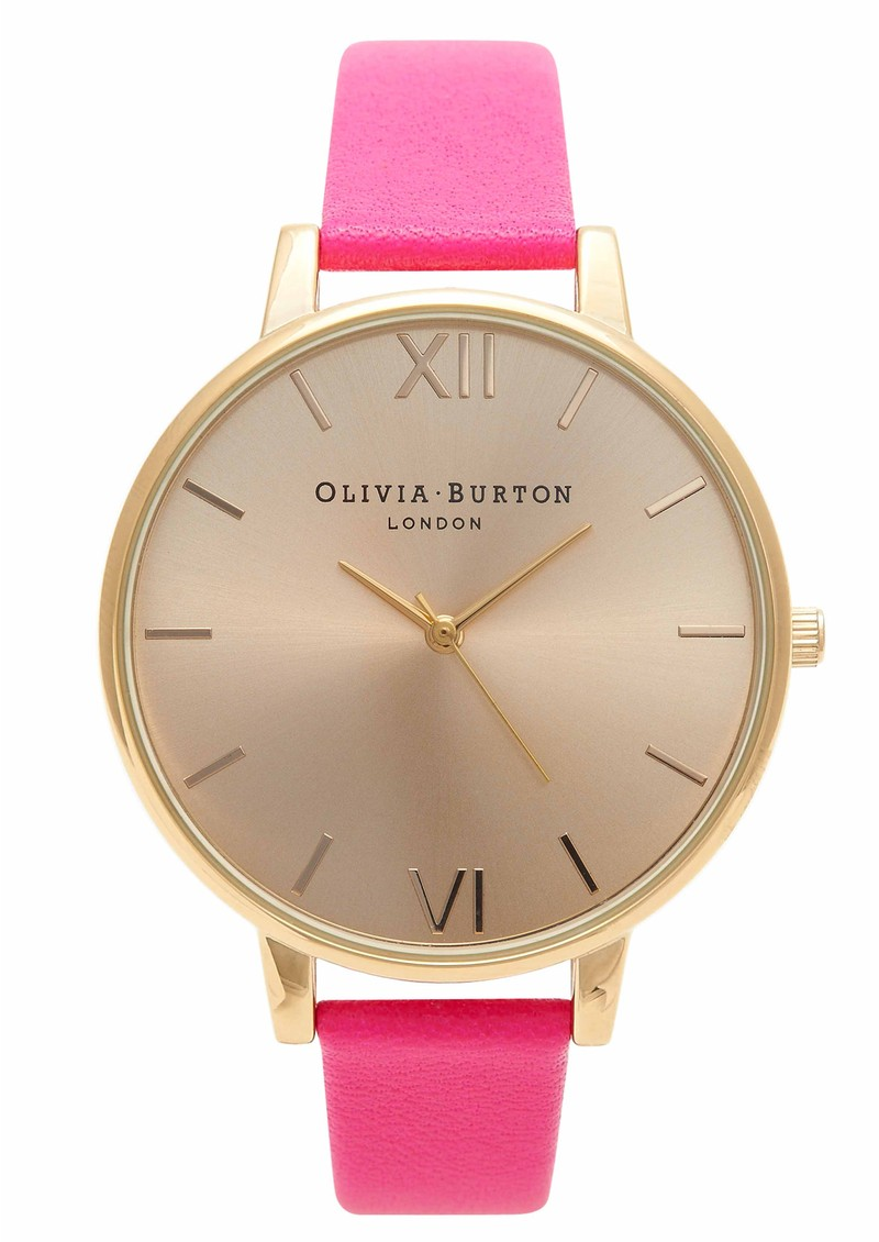 Big Dial Watch - Gold & Neon Pink main image