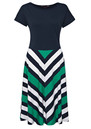 Great Plains Jolly Roger Chevron Stripe Dress - Seahorse Green