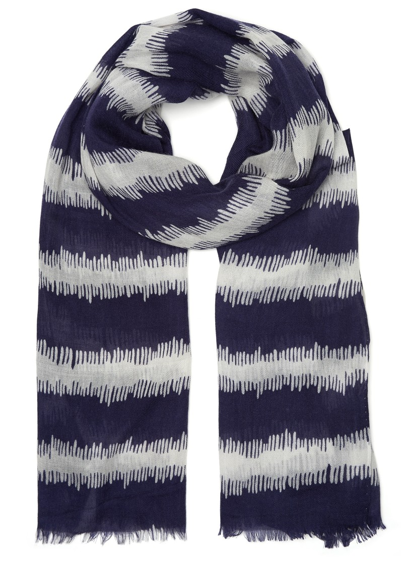Mercy Delta Ikat Navy Stripe Cashmere Mix Scarf - Navy main image