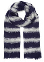 Mercy Delta Ikat Navy Stripe Cashmere Mix Scarf - Navy