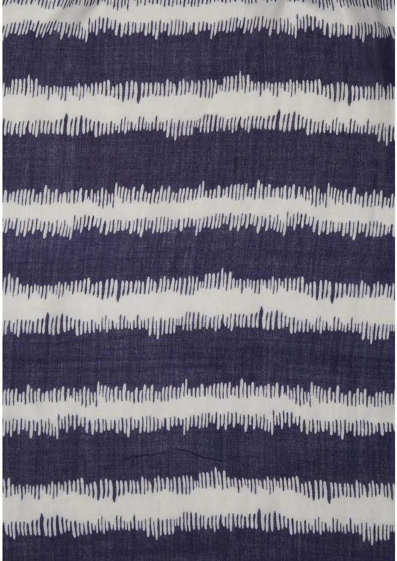 Ikat Navy Stripe Cashmere Mix Scarf - Navy main image