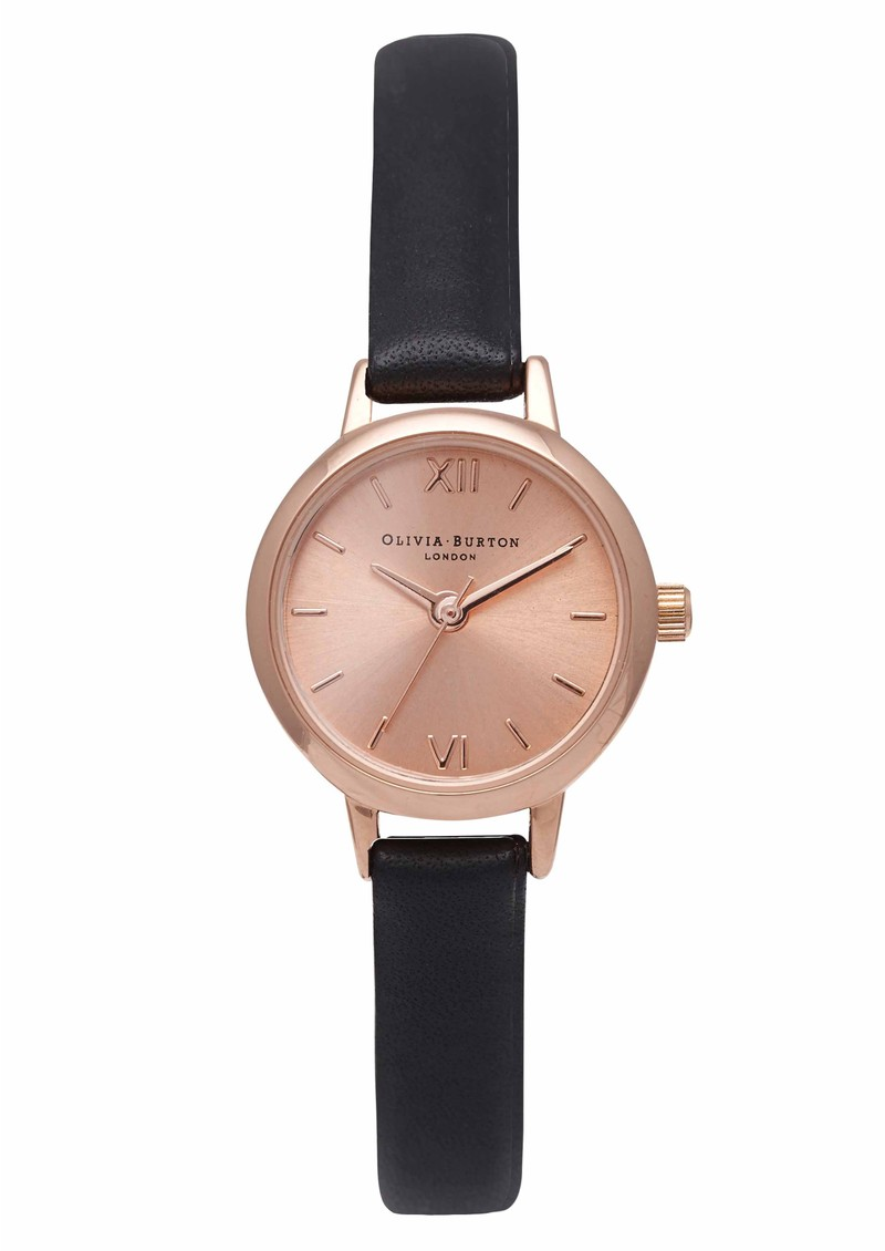 Olivia Burton Mini Dial Watch - Rose Gold & Black main image