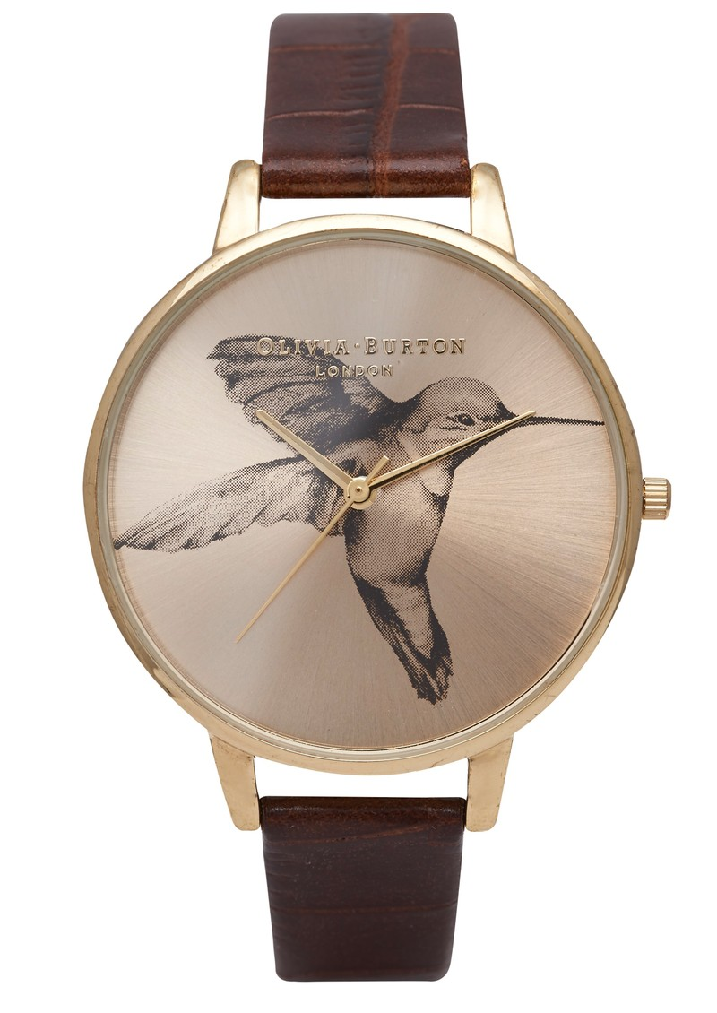 Olivia Burton Animal Motif Hummingbird Sunray Cognac & Gold main image