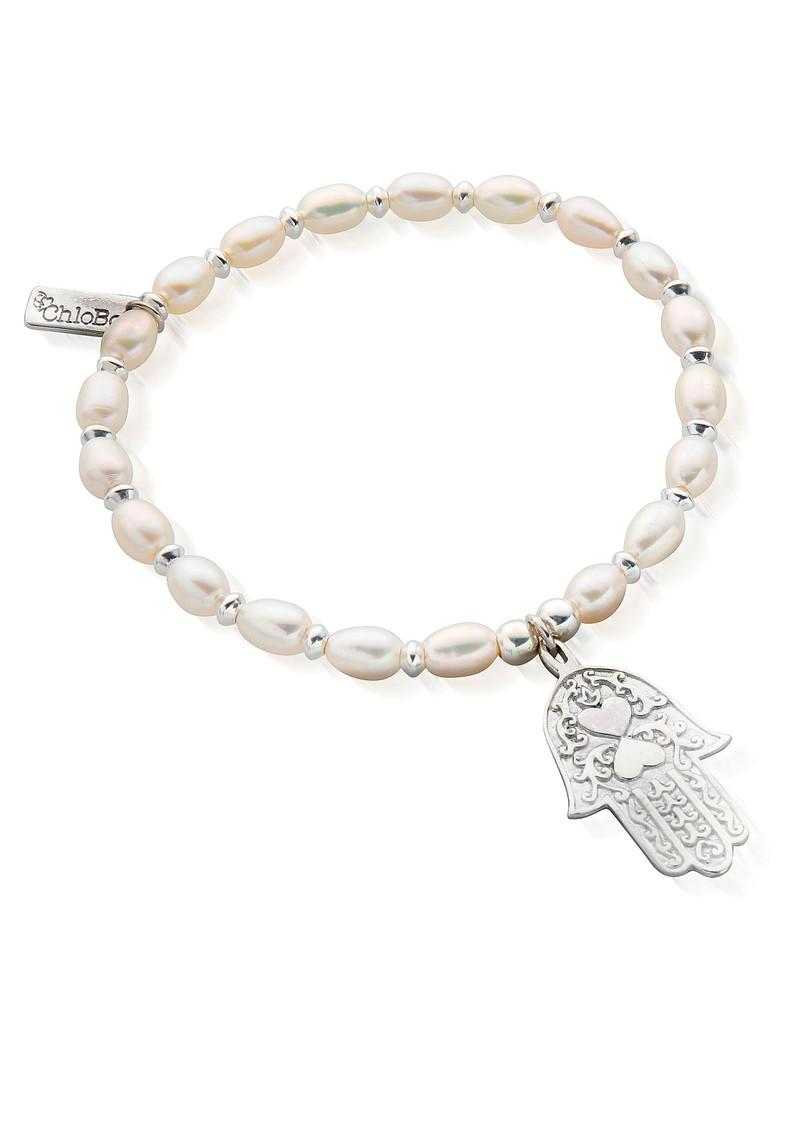 ChloBo Hamsa Hand Bracelet - Pearl & Silver main image