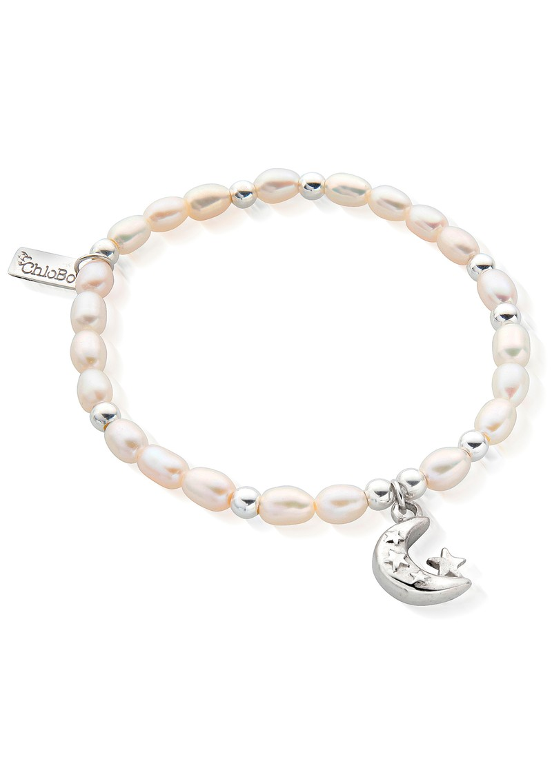 ChloBo Mini Pearl Moon & Stars Bracelet - Pearl & Silver main image