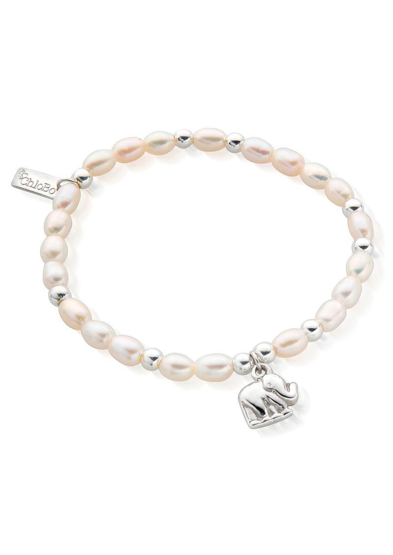ChloBo Mini Pearl Elephant Charm Bracelet - Pearl & Silver main image
