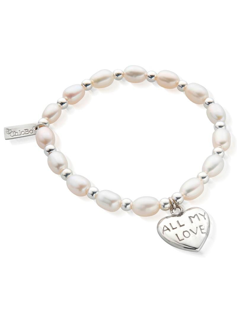 ChloBo Medium Charm All My Love Bracelet - Pearl & Silver main image