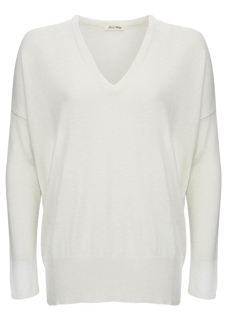 American Vintage BLOSSOM V NECK PULLOVER - PEARL main image