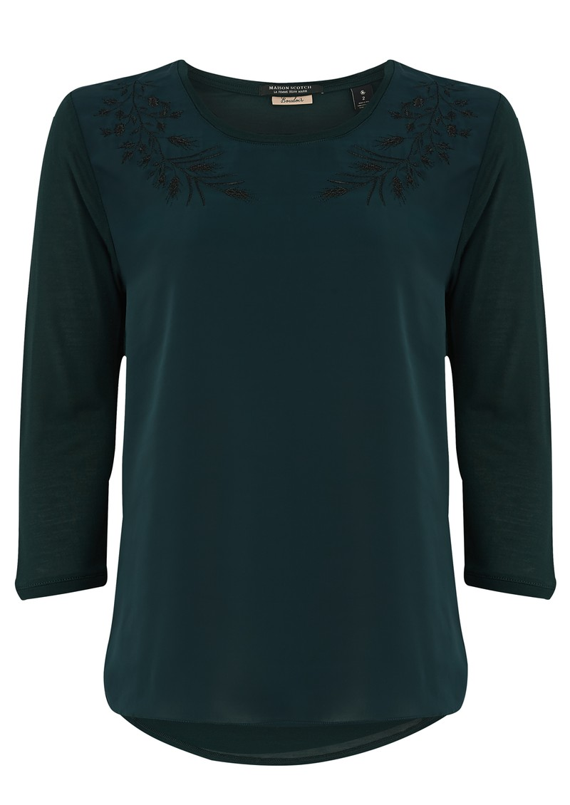 Maison Scotch SILKY FEEL EMBROIDERED TEE - MIDNIGHT GREEN main image