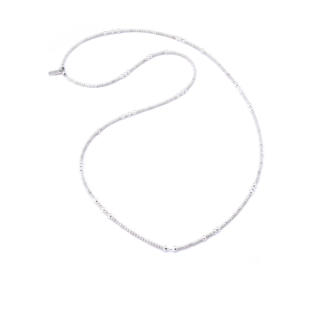 Random Beaded Necklace Length 1 - Silver