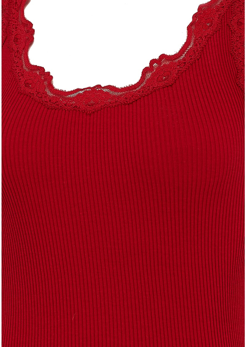 Rosemunde SILK BLEND LACE VEST - COSY RED main image