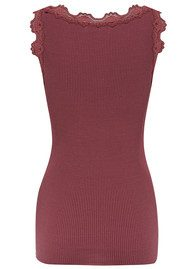 Rosemunde SILK BLEND LACE VEST TOP - ANTIQUE WINE