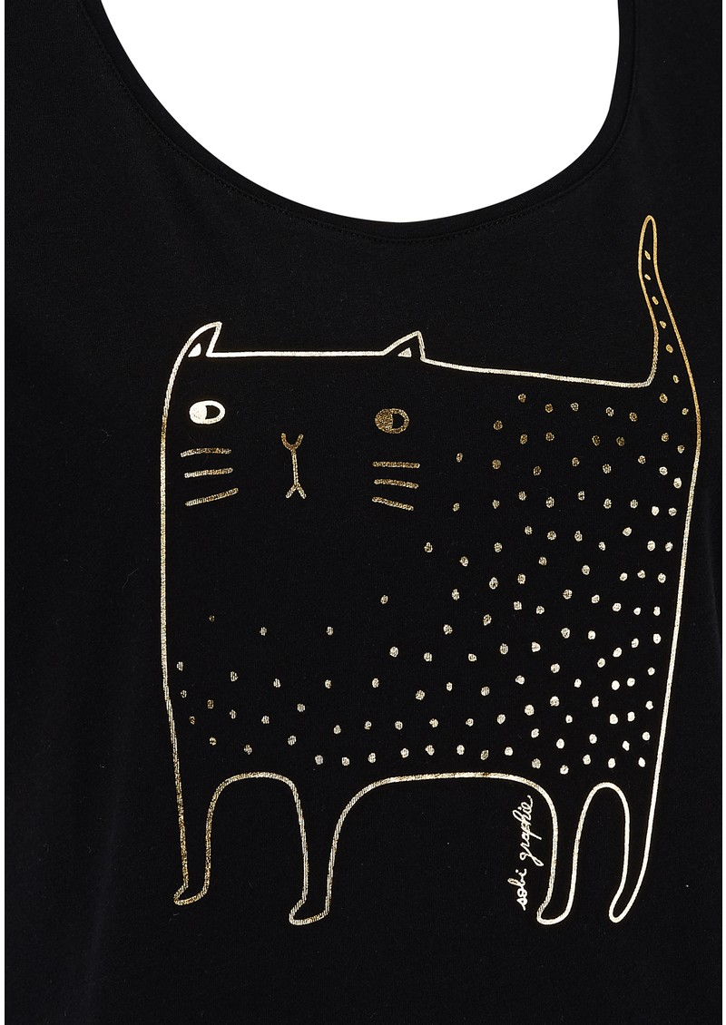 TANELLA CAT PRINT TEE - BLACK main image