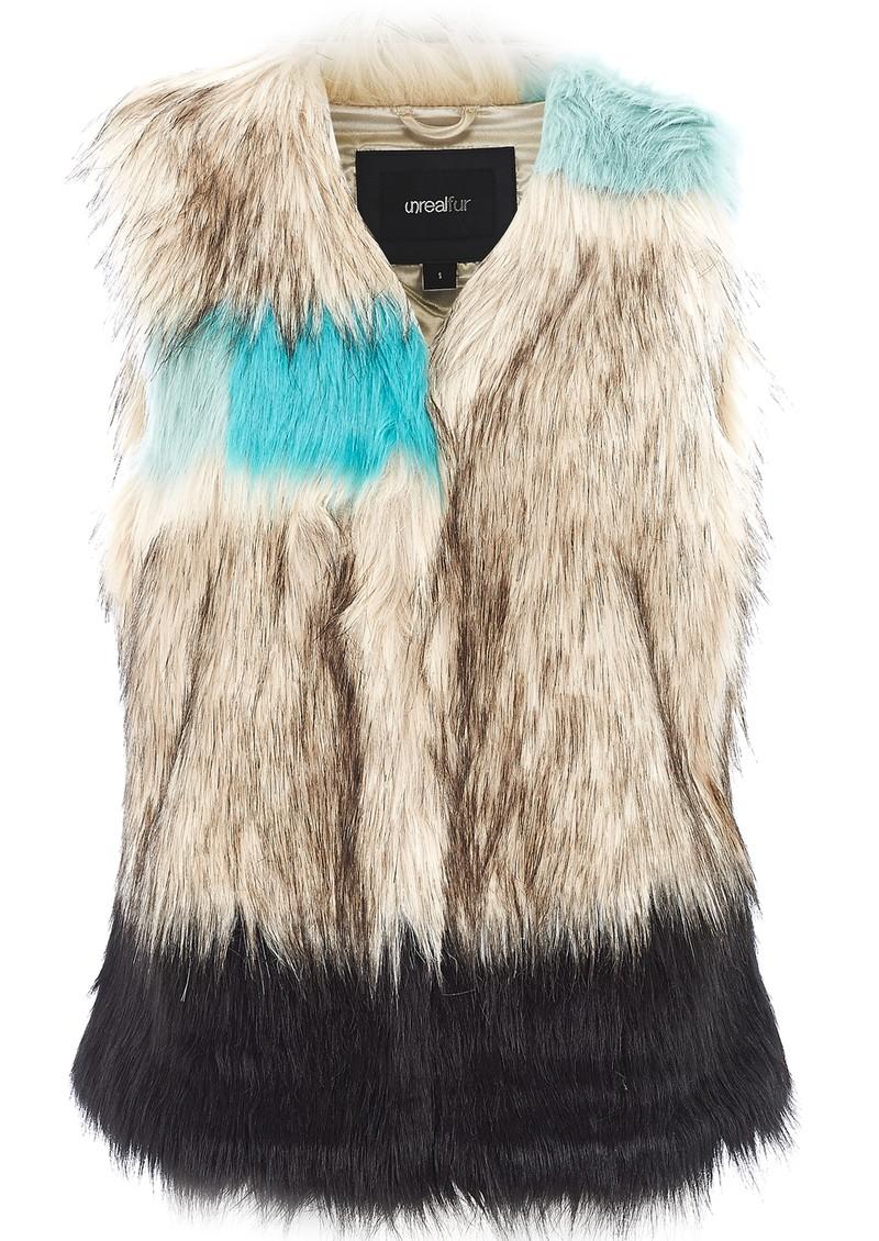 Unreal Fur PATCHWORK VEST - MULTI TURQUOISE main image