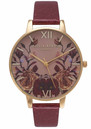 Olivia Burton WINTER GARDEN MIRROR FLORAL BIG DIAL WATCH - BURGUNDY & GOLD