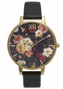 Olivia Burton WINTER GARDEN FLORAL WATCH - BLACK & GOLD