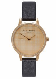 Olivia Burton CHECK DESIGN MIDI DIAL - BLACK & GOLD