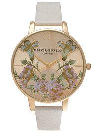 Olivia Burton PARLOUR MIRROR FLORAL WATCH - MINK & GOLD