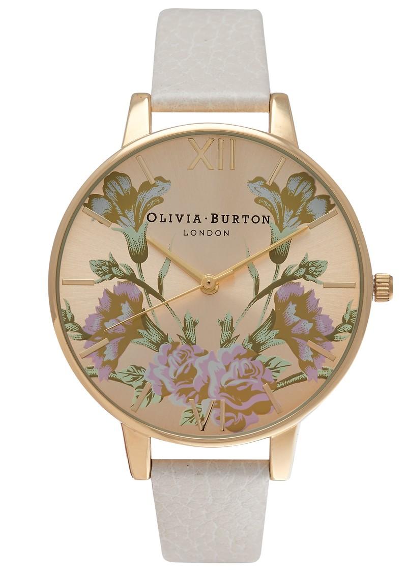 Olivia Burton PARLOUR MIRROR FLORAL WATCH - MINK & GOLD main image