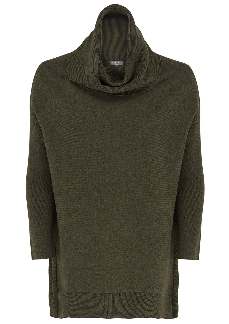 COCOA CASHMERE OVERSIZED SWING SIDE SPLIT JUMPER - ARMY main image