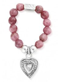 ChloBo STARRY EYES PINK RHODONITE DECORATED HEART RING - SILVER