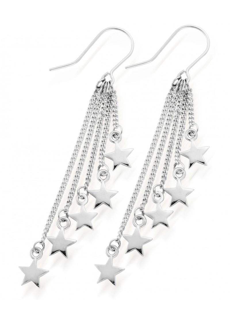 ChloBo STARRY EYES DANGLY STAR EARRINGS - SILVER main image