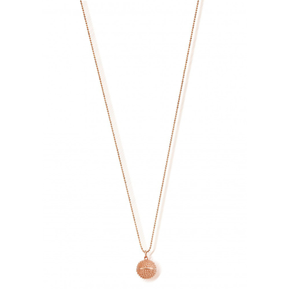 Starry Eyes Diamond Cut Ball Chain & Spikey Dreamball Necklace - Rose Gold