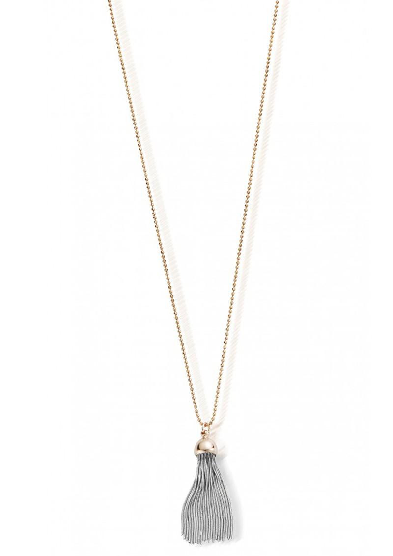 ChloBo DIAMOND CUT CHAIN & SILVER TASSEL NECKLACE - ROSE GOLD main image