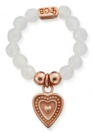ChloBo STARRY EYES WHITE AGATE SMALL DECORATED HEART RING - ROSE GOLD