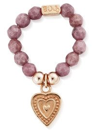 ChloBo STARRY EYES PINK RHODONITE SMALL DECORATED HEART RING - ROSE GOLD