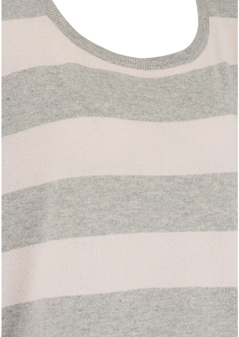 COCOA CASHMERE BOXY CREW NECK SWEATER - GREY STRIPE main image