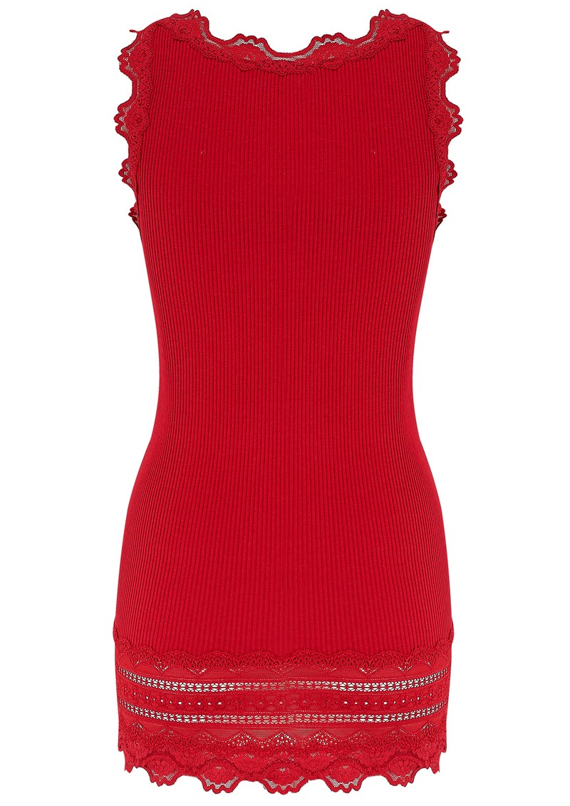 Rosemunde WIDE LACE SILK BLEND TANK - COSY RED main image
