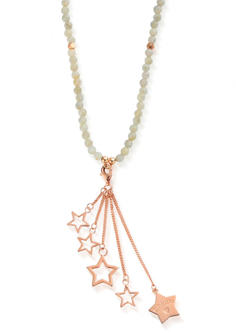 ChloBo STARRY EYES DANGLY STARS LABRADORITE NECKLACE - ROSE GOLD main image