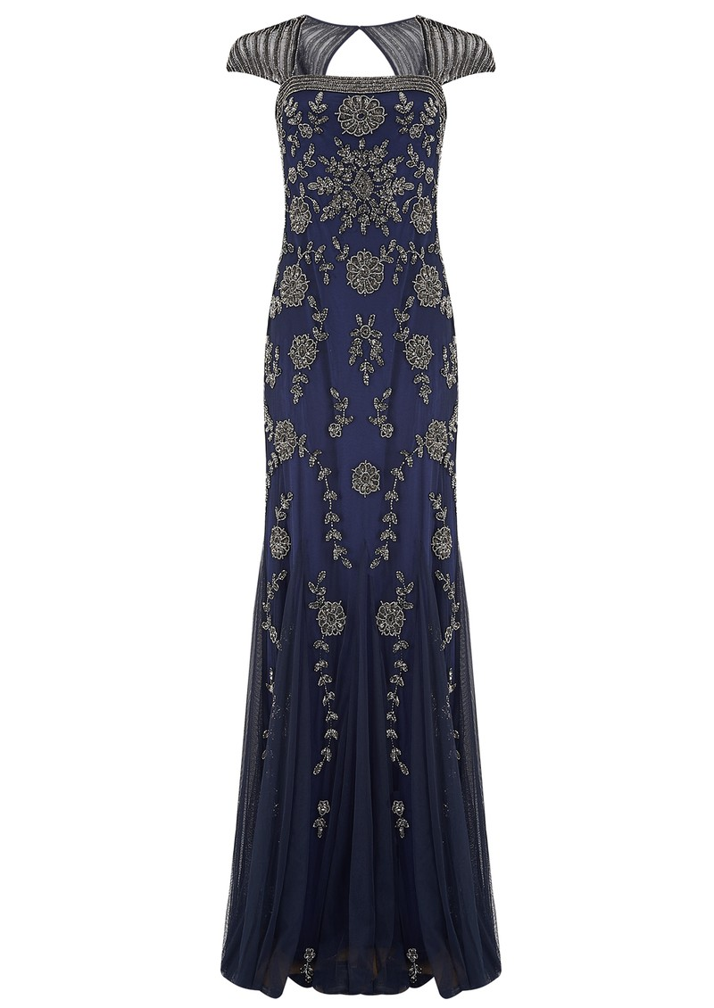 ADRIANNAPAPELL CAP SLEEVE BEADED LONG DRESS - NAVY main image