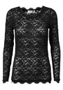 Rosemunde LONG SLEEVE LACE TOP - BLACK