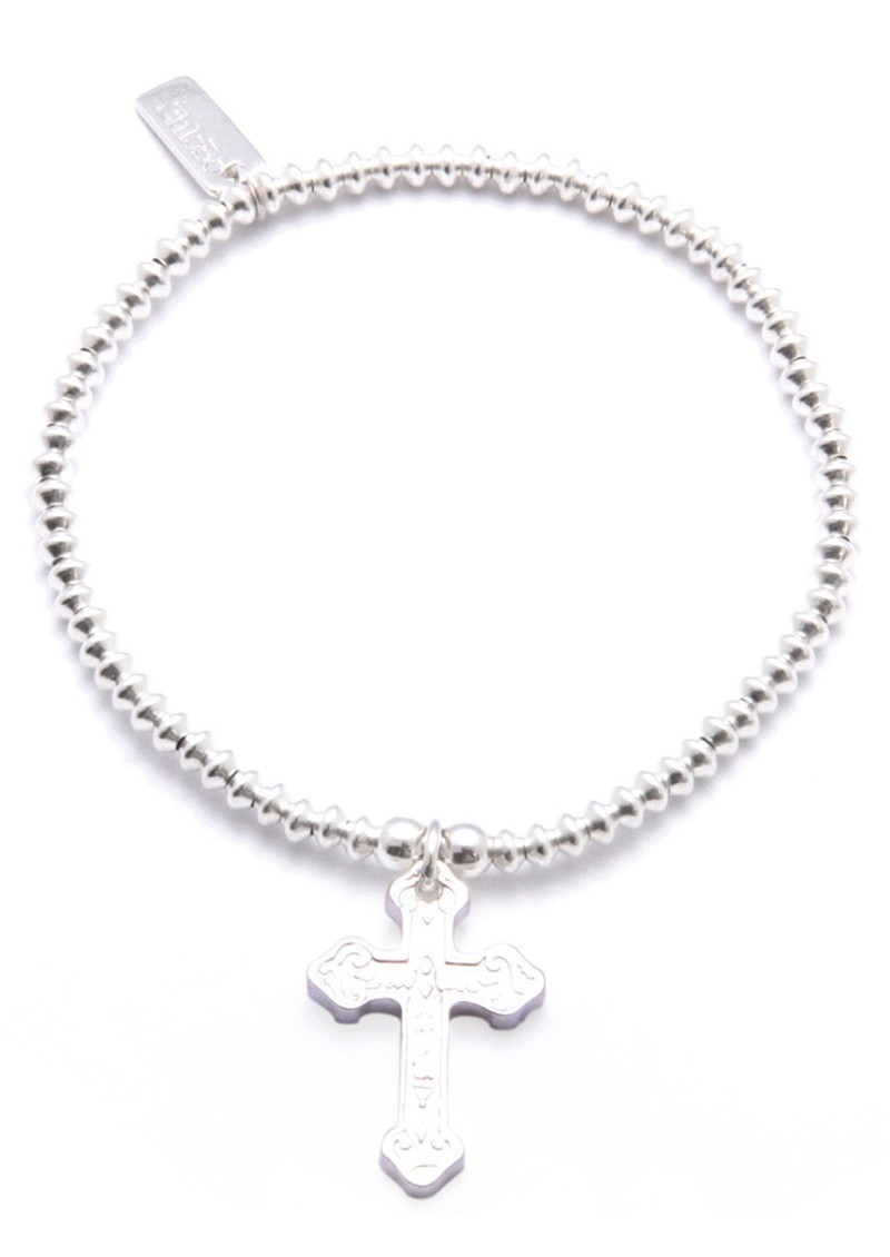ICONICS MINI DISC SMALL EMBOSSED CROSS BRACELET - SILVER main image