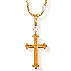 GOLD PEARL LARGE INSCRIBED CROSS PENDANT