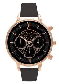 Olivia Burton CHRONO DETAIL WATCH - BLACK & ROSE GOLD